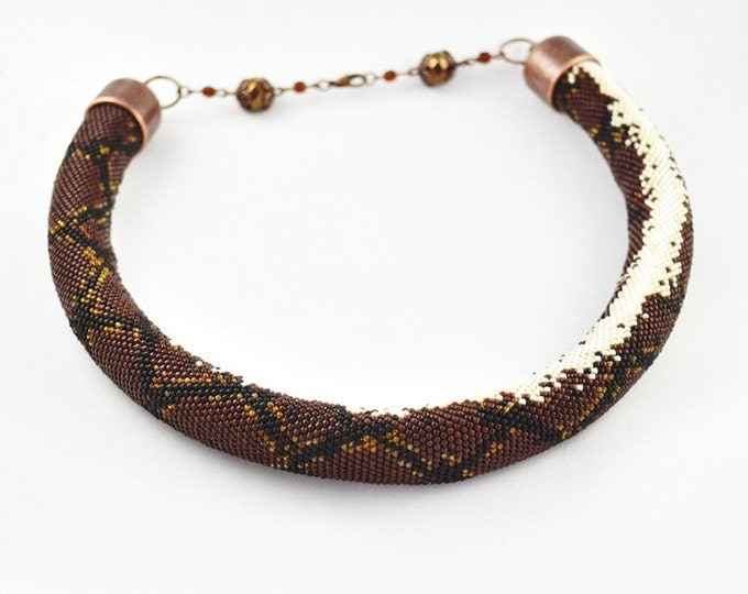 Snake necklace python Beads necklace Venomous snake Beaded snake Gift for women Seed Beads necklace brown necklace skin snake animals tube
