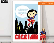 Bible verse Print christian wall decor- Acts 1:8. Superhero girl print. Little Girls room/ nursery/ playroom/ children's room.
