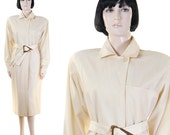 Vintage 1980s Women's Ivory Coat Dress + Belt / Handmade / Padded Shoulders