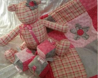 Handmade baby girl gift set.