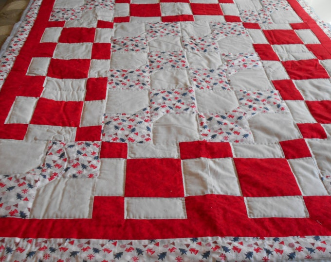 Red and Gray Bow Tie Patchwork Quilt , Lap Quilt or a Crib Quilt