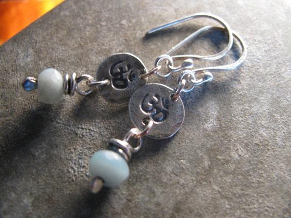 Amazonite Sterling OHM Sign Handmade/Hand Forged Dangle Earrings Sterling Silver Earrings Toniraecreations