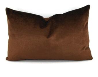 Chocolate Brown Velvet Lumbar Pillow Cover, Dark Brown Velvet Throw Pillow Cover, Brown Antique Velvet Pillow Cover, 14x22, Lumbar Pillow