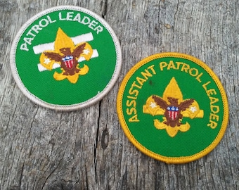 """Vintage Boy Scout Patches (2) Patrol Leader and Assistant Patrol Leader Patches Vintage BSA 3"""" in Diameter Green Patches Vintage Patch"""