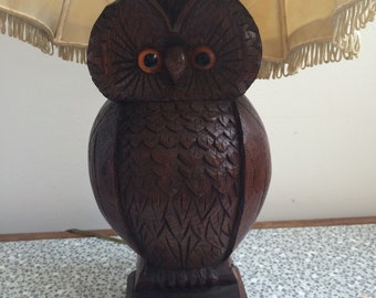 1940's wooden carved owl lamp and original shade