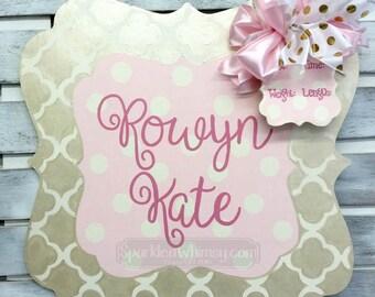 Birth Announcement - Door Hanger - Personalized Baby Announcement Sign For Hospital Door Gold/Ballet Pink
