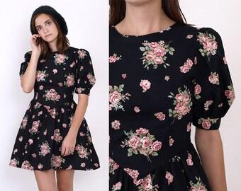 80's Black ROSES Floral Print PUFF Sleeves Cotton High Waist Full Skirt Pockets Vintage Mini Dress Small