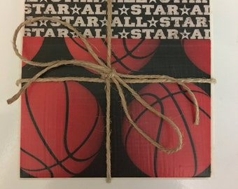 All Star Basketball Ceramic Tile Coasters..Decoupage Coasters..Set of 4..Gift