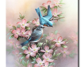Blue Birds Art Tile Print on Ceramic with Hook or with Feet Indoor Use -Nature, Flowers, Birds