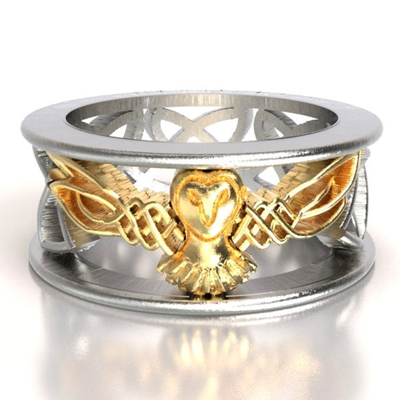 Celtic Two Tone Owl Wedding Band, Celtic Gold Ring, Unique Silver Wedding Ring, Barn Owl, 10K 14K 18K Gold Palladium Platinum 1016