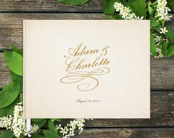 Vintage Glam Horizontal Wedding Guest Book with Blank Pages; Personalized, Script