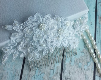 White Bridal Lace Comb ,Wedding Lace Hair Comb,Bridal Accessories