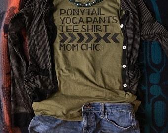 Mom Chic, large, tee, military green, mom shirt, t-shirt, comfortable, casual