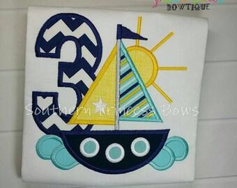 Sailboat nautical third Birthday Embroidered shirt