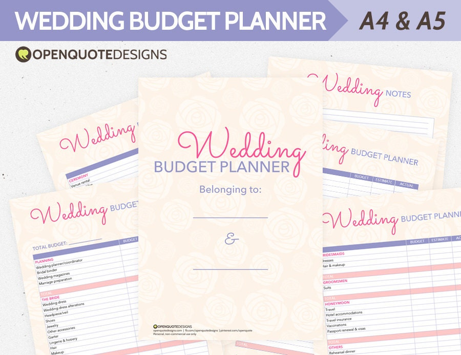 Wedding Planning Planner Organizer Budget