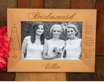12 Personalized Bridesmaid Frame - Custom Engraved Gifts, Picture Frames, Photo Frame - Maid of Honor, Mother of the Bride - Urban Farmhouse