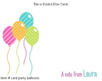 Balloons Personalized Note cards Stationery Set of 10 flat or folded notecards