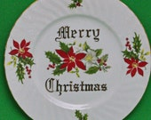 "DMu2098 - Vintage Norcrest Fine China 8"" Merry Christmas Side Plate, Holiday Sale!"