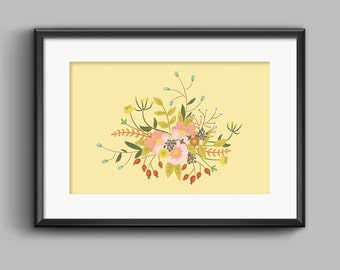 Vintage Flowers Bouquet Vector - (A4/A3) Vector Print Only
