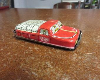 Vintage Tin Litho Stone Truck Japan