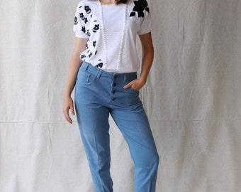 SEXY SUMMER SALE Vintage Very 80's White and Black Blouse/Top by Pykettes size Small