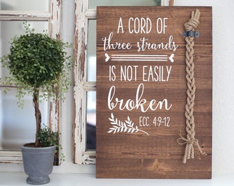 A cord of three strands is not easily broken. Ecc 4:9-12 Unity Cord, God's Knot, Unity Braid, Wedding Ceremony, Divinity Cords