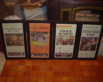 san francisco giants golden state warriors framed rustic cedar original newspapers champions 2010 2012 2014 2015