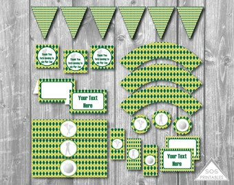 Green Golf Party, Argyle Golf Party, Kids Golf Party, Golf Party Printables, Boys Golf Birthday, Printable Party, Instant Download Party