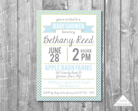 mint blue and gold baby shower invitation boy baby shower invite