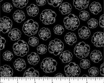 Yard Cut of Choice Fabrics BD 47872 A01 White Floral on Black