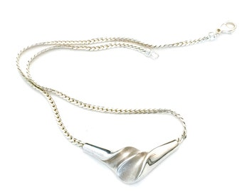 Modernist Danish Sterling Silver Necklace, Dramatic Center Piece Pendant, Hallmarked 925 GIFA, Hand Crafted