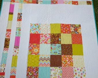 Handmade Fall quilt Wrens and Friends - lap Baby Quilt, Crib Nursery aquas, pinks, yellows, greens Patchwork Blanket custom quilted