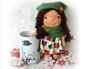 Waldorf doll, waldorf pocket doll, christmas gift, christmas decor, christmas doll, christmas gift, dress up doll, dollhouse doll