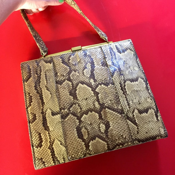 1950s snakeskin bag Kelly style hand bag purse real python skin purse top handle 1940s frame handbag