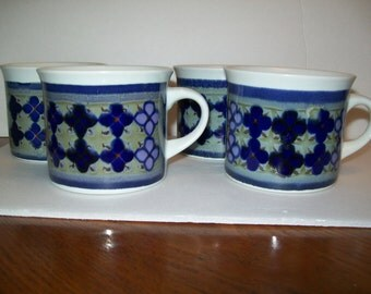 Vintage Royal Doulton Mug set (4) Limited 1973, Lambeth Stone Ware, Made in England. blue, white, gray and purple!
