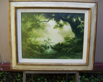 Vintage Dalhart Windberg , 1971 framed first issue print, Woodland Reflections, w/frame 22x18