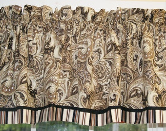 """Perugina Paisley Brown Tan Black White Toile Valance 17"""" x 43"""" Curtain Can Alter Window Treatment"""