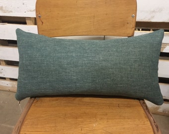 Small Rectangle Cushion/Pillow Cover in Warwick Upholstery Fabric in a Teal Green Shade.
