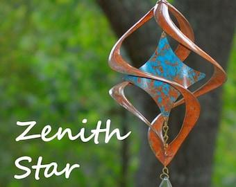 BreezeWay Star Wind Spinner | Garden Copper Wind Art w/ Patina Coloring & Cyrstal Suncatcher | 2 Sizes | Solid Copper | Handcrafted in TX