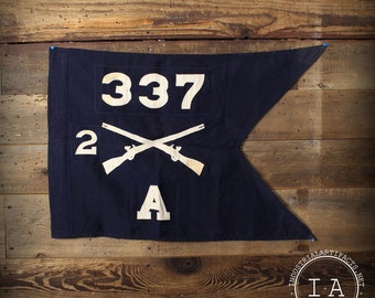 Vintage United States Army Infantry Guidon 2/337 Company A