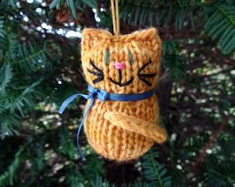 Orange Tabby Kitten Ornament, Handmade Knit, Hanging Decoration, Christmas Tree Trim, Rustic Decor, All Year Decoration