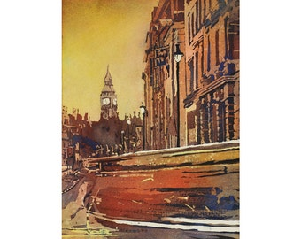 Big Ben and traffic near Trafalgar Square at dawn in the city of London, England.  Big Ben painting. Fine art watercolor painting London art