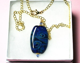 Blue Necklace, Pendant Necklace, Lampwork Necklace, Glass Necklace, Gold Chain,  Women's Jewelry