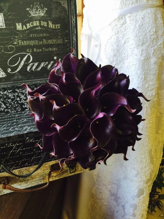 Eggplant Calla Lily Bridal Bouquet Real Touch Calla Lily