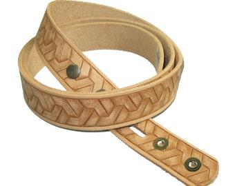 "1-1/4"" Embossed Geometric Weave Belt Blank"