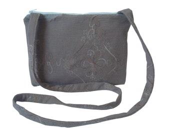 Small Crossbody Bag/ Messenger Bag/ Shoulder Bag/ Zippered, Brown whit Flower.