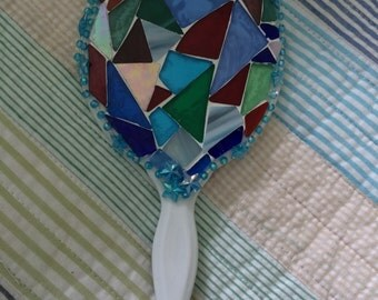 Mosaic stained glass hand mirror