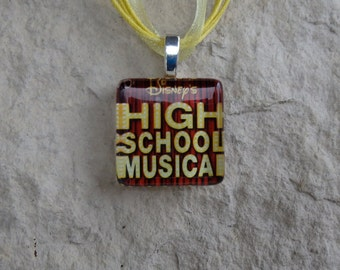 Broadway Musical High School Musical Glass Tile and Ribbon Necklace