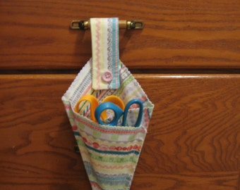 Sale Clearance-Scissor Holder  Made of Fabric with Loop for Hanging Fabric 2 --  Shipping Included