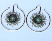 SALES ! Hand made brass ear weights  with black shell, abalone, turquoise stone and resin at one inlayed , wearable size 3 mm